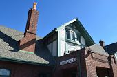 picture of amtrak  - Close up of the exterior of the passenger train station at Flagstaff - JPG