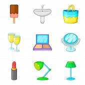 Private Room Icons Set. Cartoon Set Of 9 Private Room Icons For Web Isolated On White Background poster