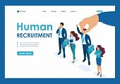 Isometric Employer Hand Choosing Man From Selected Group Of People, Recruiting Concept. Template Lan poster