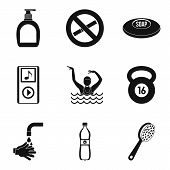 Occupational Health Icons Set. Simple Set Of 9 Occupational Health Icons For Web Isolated On White B poster
