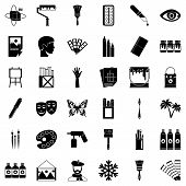 Drawing School Icons Set. Simple Set Of 36 Drawing School Icons For Web Isolated On White Background poster