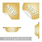 Set Of Four Stickers. Gold Stickers. Round, Square Trapezoidal Forms For The Design Of Stickers For  poster
