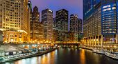 Chicago Skylines building along Chicago River at Chicago downtown in Chicago City Illinois USA. Suns poster