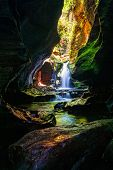 Beautiful Canyon And Waterfall In Blue Mountains Australia Wilderness Area  The Start Of The Canyon  poster