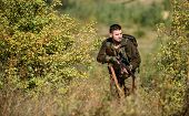 Man Wear Camouflage Clothes Nature Background. Hunting Permit. Hunting Is Brutal Masculine Hobby. Hu poster