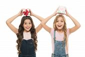 Learned How To Gift Wrap. Happy Little Girls Holding Gift Boxes Over Head. Small Children With Gift  poster