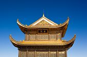 stock photo of emei  - The golden palace on Golden Summit in Mount Emei - JPG