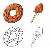 Vector Illustration Of Confectionery And Culinary Symbol. Set Of Confectionery And Product Stock Vec poster
