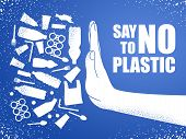 Say No To Plastic. Problem Plastic Pollution. Ecological Poster. Banner Composed Of White Plastic Wa poster