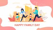 Family Running Marathon In City Flat Cartoon. Mother, Father, Son Daughter Jogging Together. Active  poster