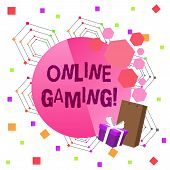 Conceptual Hand Writing Showing Online Gaming. Business Photo Text Action Or Practice Of Playing Vid poster