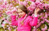 Little Girl Enjoy Spring. Kid On Pink Flowers Of Sakura Tree Background. Kid Enjoying Pink Cherry Bl poster