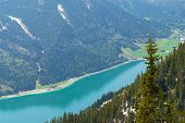 Mountain Range Nature Landscape Over Achensee Lake. Mountain Layers Landscape. Springtime In Mountai poster