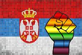 Shiny Lgbt Protest Fist On A Serbia Flag - Illustration,  Abstract Mosaic Serbia And Gay Flags poster
