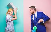 Professional Education And Careers. Woman Choose To Work Digital Technology. Man Force Girl To Clean poster