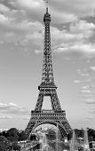 Eiffel Tower And Fountains Of Trocadero Quartier In Paris With Black And White Effect poster