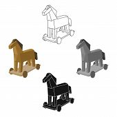 Trojan Horse Icon In Cartoon, Black Style Isolated On White Background. Hackers And Hacking Symbol S poster