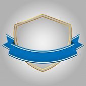 Shields And Blue Ribbons Banner Flat Design,flat Icon,esp10,vector Ribbons And Labels,on Gray Backgr poster