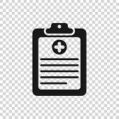 Grey Medical Clipboard With Clinical Record Icon Isolated On Transparent Background. Health Insuranc poster