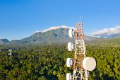 Telecommunication Tower, Communication Antenna On Camiguin Island, Philippines. Repeaters On A Metal poster
