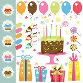 picture of birthday-cake  - Retro Birthday Elements Set - JPG