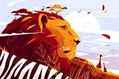 Majestic Lion On Safari Vector Illustration. King poster