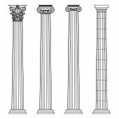 A Set Of Antique Greek And Historical Columns With Ionic, Doric And Corinthian Capitals Vector Line poster