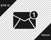 Grey Envelope Icon Isolated On Transparent Background. Received Message Concept. New, Email Incoming poster