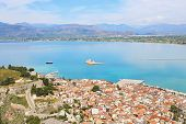 Scenery From Above Of Nafplio Town Argolis Greece - Drone View - Greek Famous Destination poster