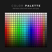 Colorful Palette. Full Spectrum Of Colors With Brown And Gray Shades. Set Of Bright Colors Of Rainbo poster