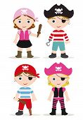image of pirate girl  - cute set of childrens pirates like hallowen costumes - JPG