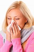 picture of rhinitis  - Beautiful and young blonde woman with rhinitis - JPG