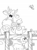 stock photo of the lost sheep  - illustration of funny animals farm for children to colored - JPG