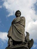 picture of alighieri  - Dante Alighieri statue with sky and clouds - JPG