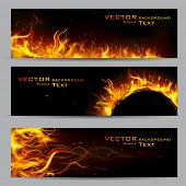 stock photo of fiery  - illustration of set of fire flame banner - JPG