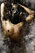 Artistic portrait of a nude man with gas mask with textured background