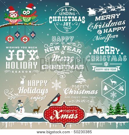 Christmas decoration collection of calligraphic and typographic design with labels, symbols and icon poster