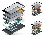stock photo of isometric  - Vector isometric smartphone cutaway  - JPG