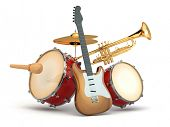 Musical instruments. Guitar, drums and trumpet. 3d
