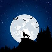 foto of wolf moon  - Silhouette of a wolf on Moon background - JPG