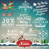 image of christmas bells  - Christmas decoration collection of calligraphic and typographic design with labels - JPG