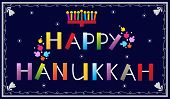 stock photo of hanukkah  - Happy Hanukkah banner with menorah and dreidels - JPG