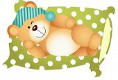 picture of goodnight  - Scalable vectorial image representing a sleeping on pillow cute teddy bear - JPG