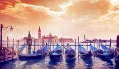 pic of gondola  - gondola in the morning sun in Venice - JPG
