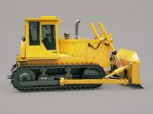 foto of earthwork operations  - Heavy crawler bulldozer on a gray background - JPG