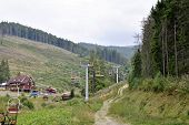 picture of ropeway  - the ropeway in mountains of Carpathians of Ukraine - JPG