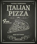 stock photo of chinese menu  - Italian pizza poster on black chalkboard - JPG