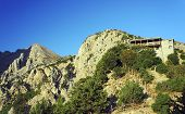 stock photo of samaria  - Hiking trail in the Gorge of Samaria on the island of Crete - JPG