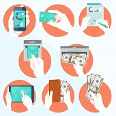 stock photo of holding money  - Vector Illustration of  Icon set with Hands holding credit card - JPG