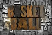 pic of ncaa  - The words BASKETBALL written in vintage letterpress type - JPG